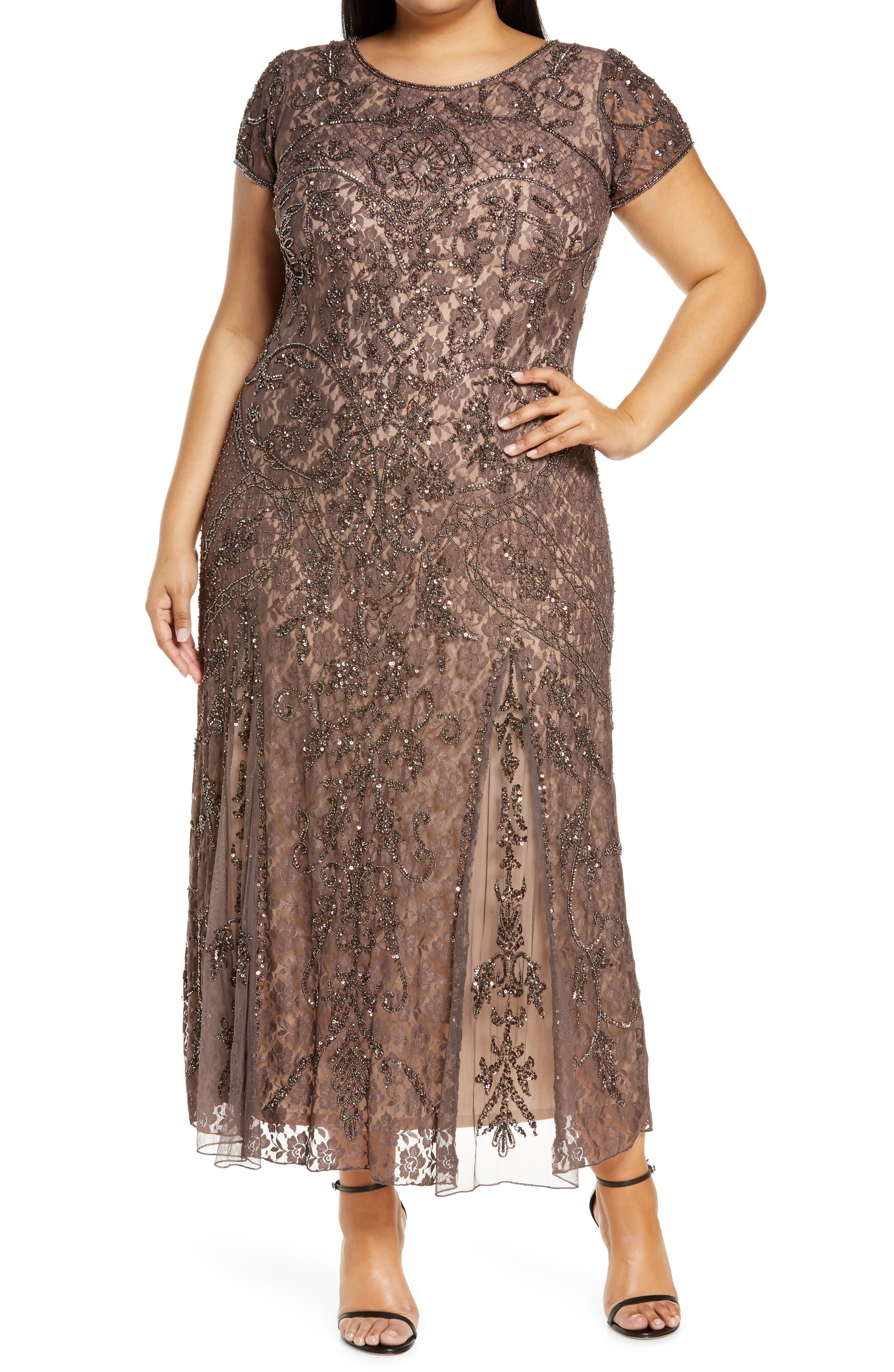 1920s Plus Size Flapper Dresses, Gatsby Dresses, Flapper Costumes Plus Size Womens Pisarro Nights Embellished Lace A-Line Dress Size 18W - Brown $129.00 AT vintagedancer.com
