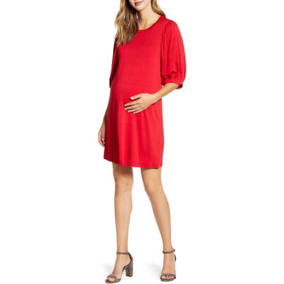 Maternal America Balloon Sleeve Maternity Dress, Red