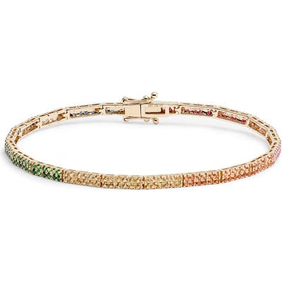 Ef Collection Double Row Rainbow Jewel Eternity Bracelet