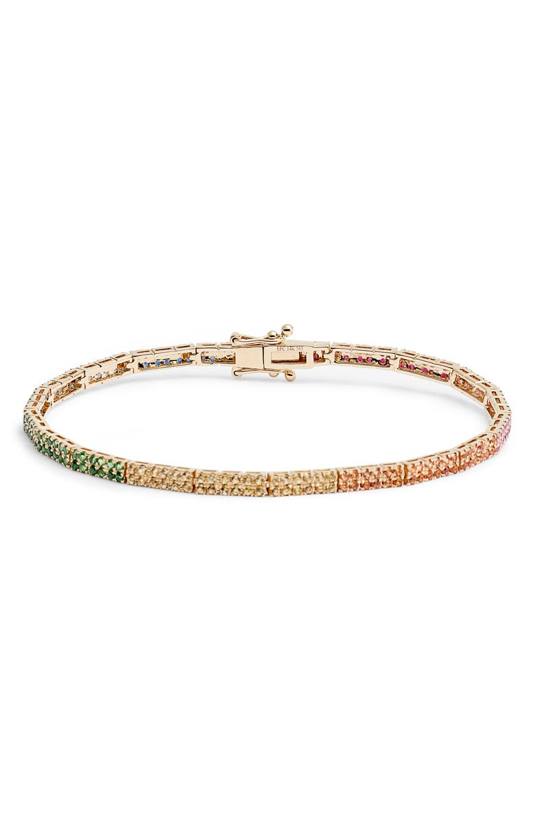 EF COLLECTION Double Row Rainbow Jewel Eternity Bracelet, Main, color, YELLOW GOLD/ RAINBOW