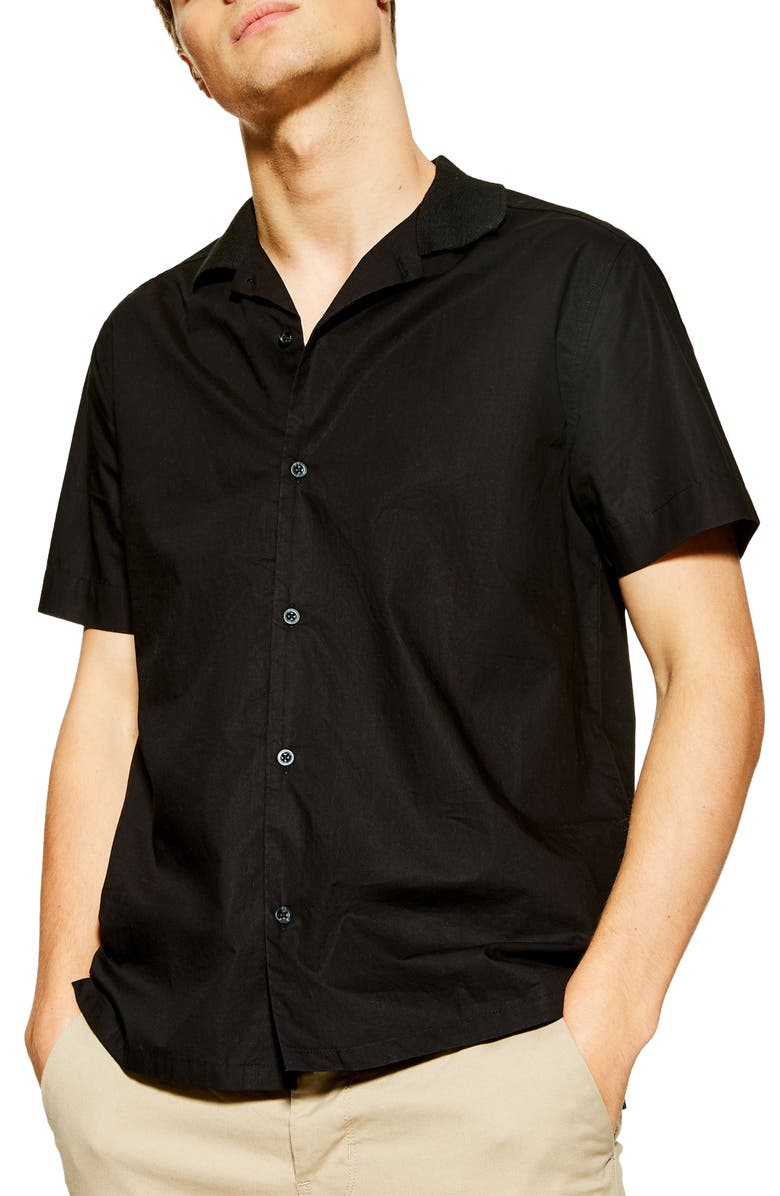 TOPMAN Rib Collar Short Sleeve Button-Up Camp Shirt, Main, color, BLACK