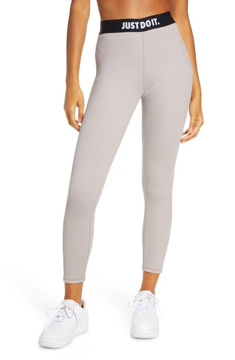 NIKE Sportswear Ribbed JDI Leggings, Main, color, PUMICE