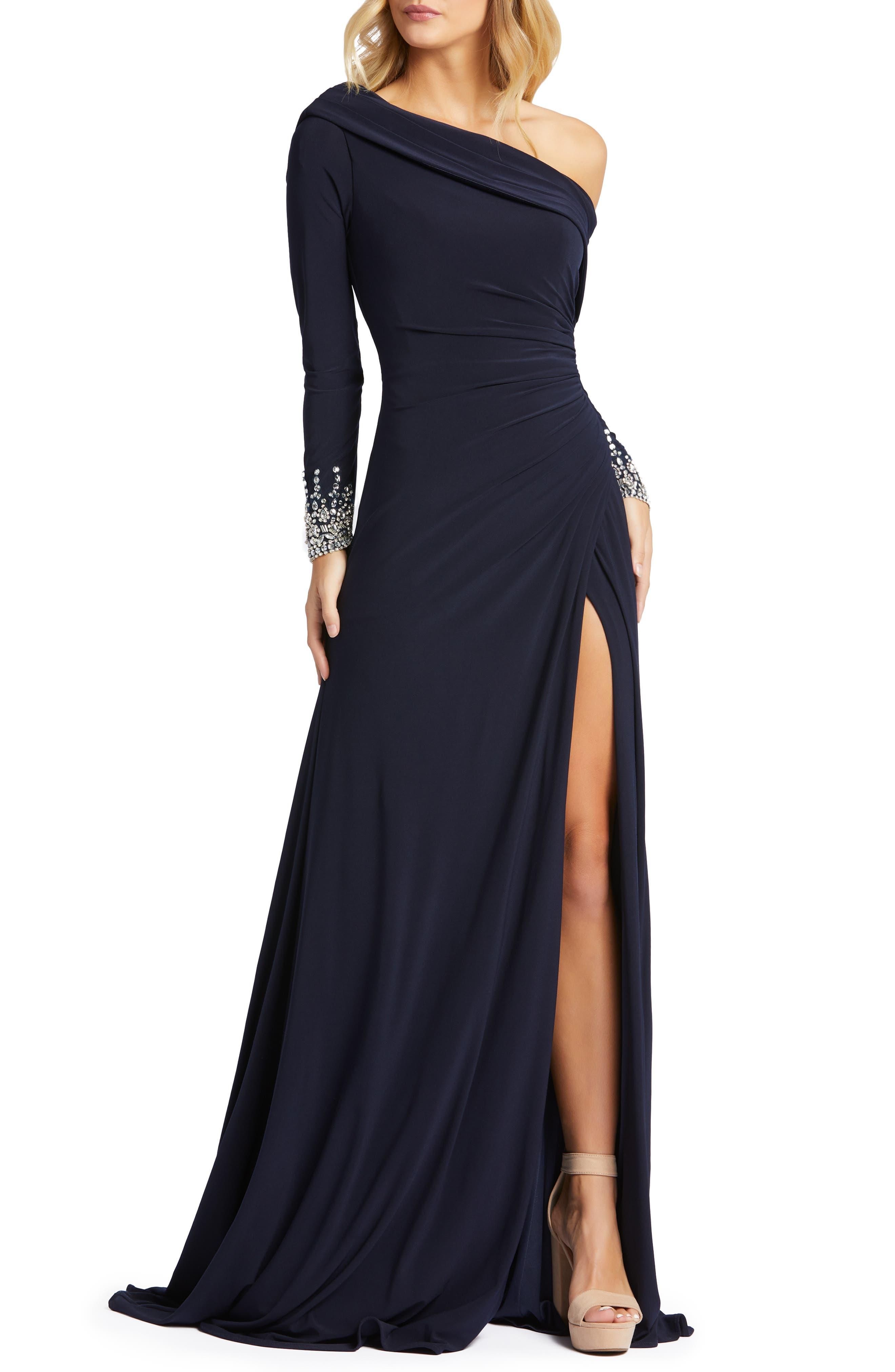 Mac Duggal One-Shoulder Long Sleeve Jersey Gown | Nordstrom
