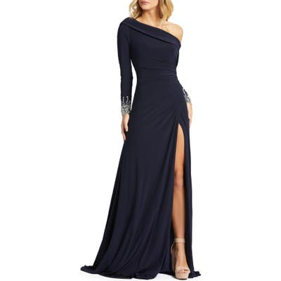 MAC Duggal One-Shoulder Long Sleeve Jersey Gown, Blue