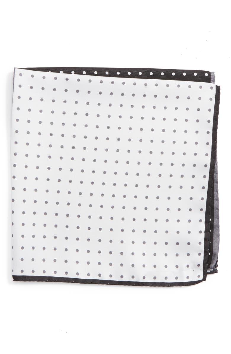 NORDSTROM MEN'S SHOP Four Panel Dot Silk Pocket Square, Main, color, BLACK