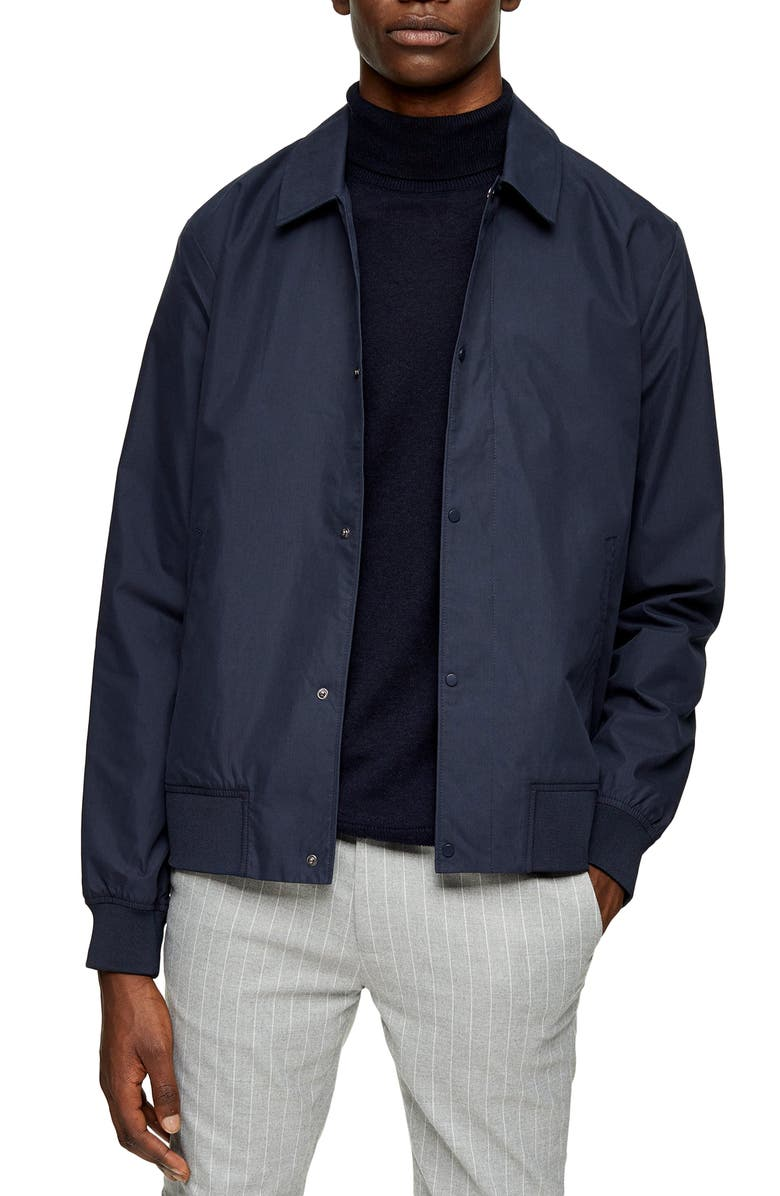 TOPMAN Papertouch Classic Fit Bomber Jacket, Main, color, NAVY BLUE