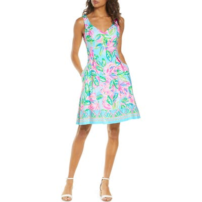 Lilly Pulitzer Linnet Watercolor Fit & Flare Dress, Blue/green