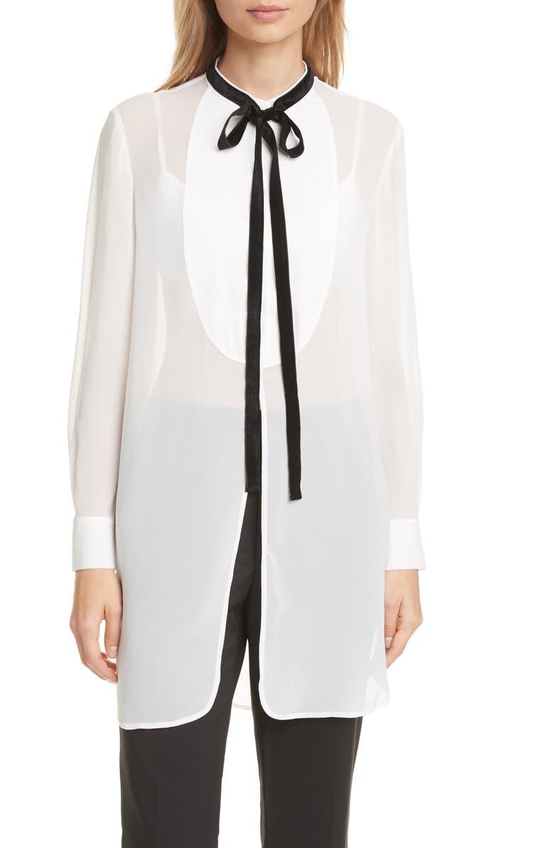 CLUB MONACO Tuxedo Silk Tunic Blouse, Main, color, BLANC DE BLANC