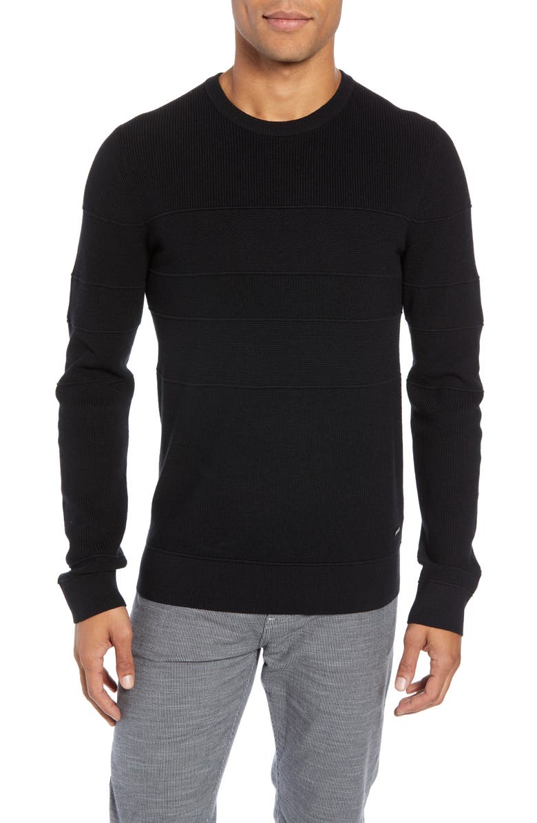 BOSS Esanto Structured Slim Fit Sweater, Main, color, BLACK