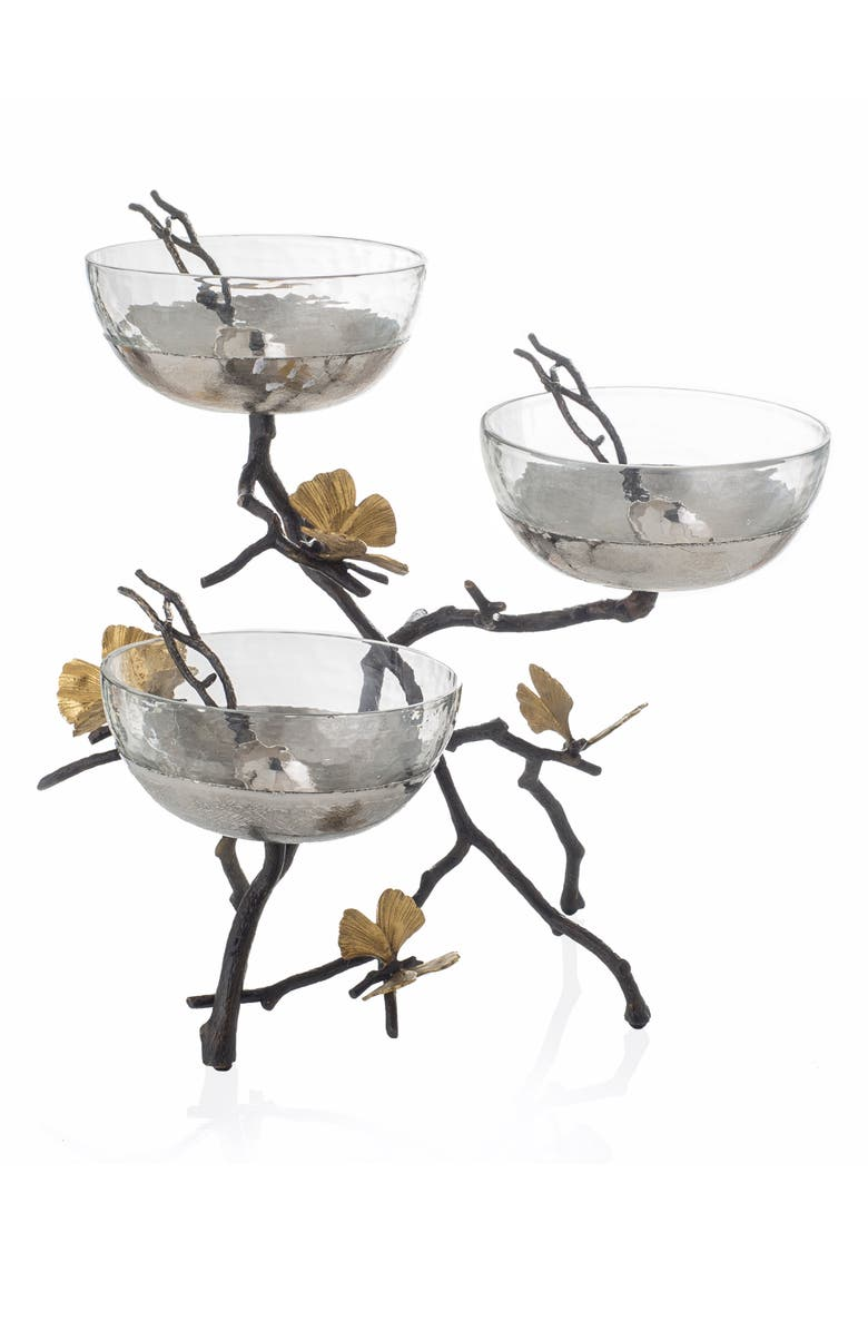 MICHAEL ARAM Butterfly Ginkgo Triple Bowl & Spoon Set with Stand, Main, color, 040