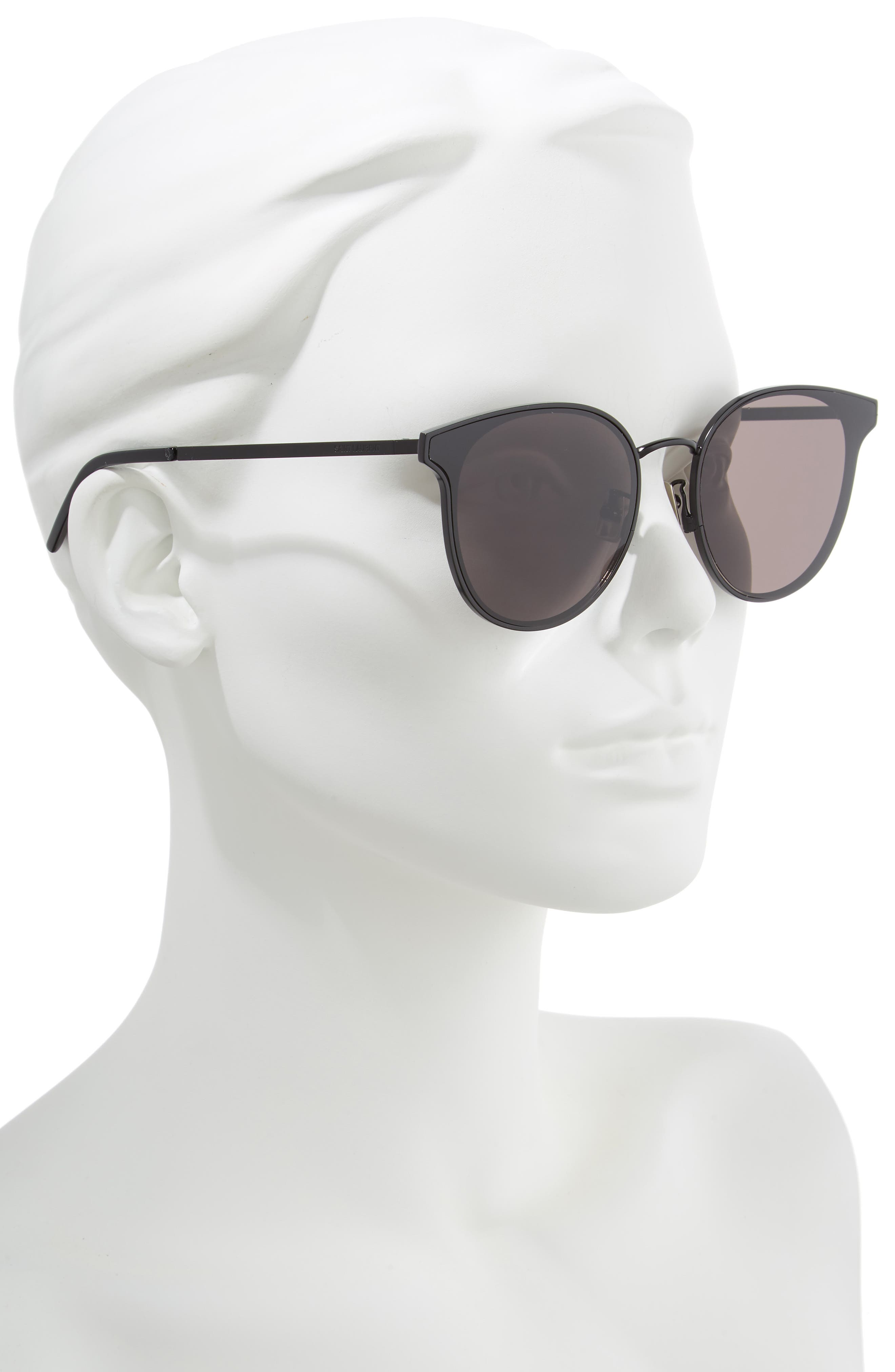 ,                             64mm Oversize Flat Front Round Sunglasses,                             Alternate thumbnail 2, color,                             BLACK/ BLACK