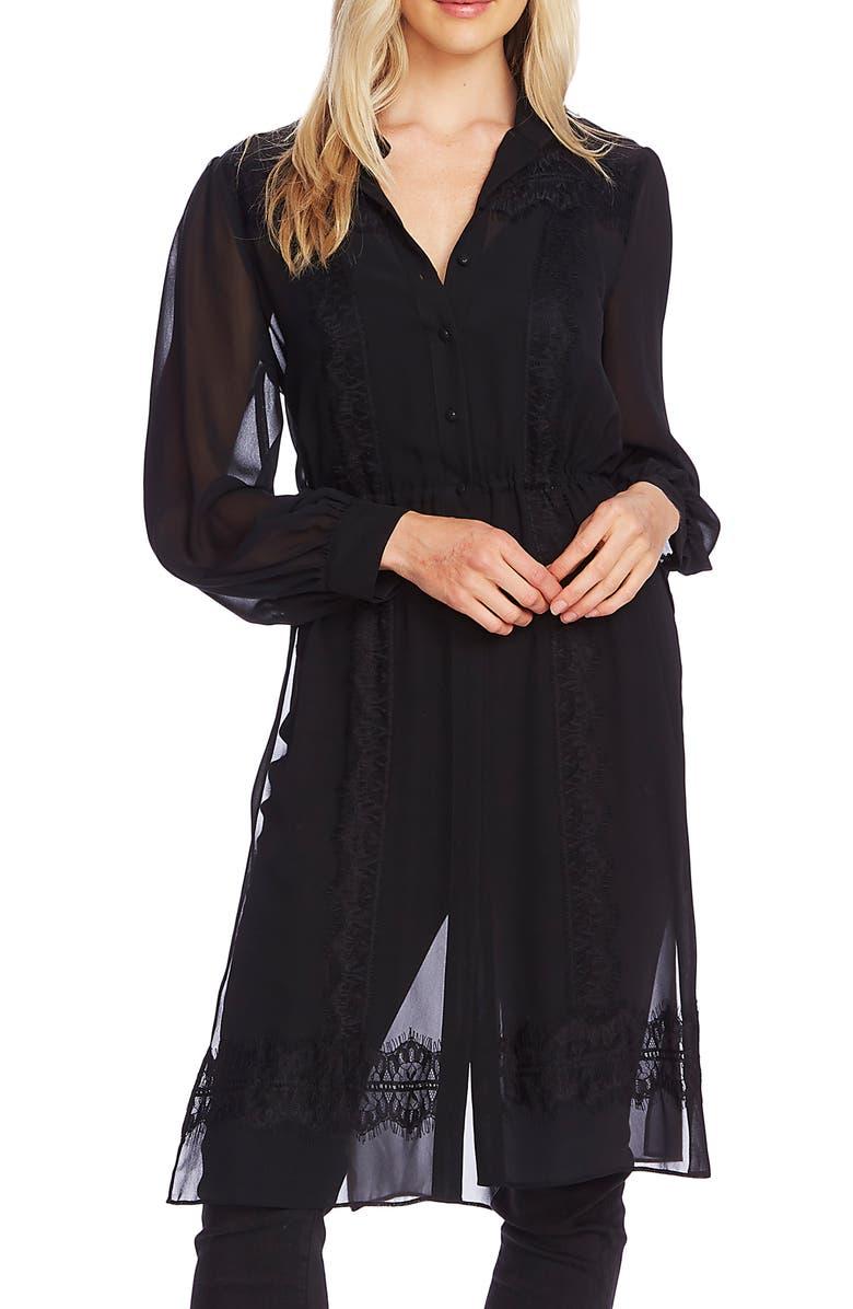 VINCE CAMUTO Lace Trim Chiffon Button-Up Top, Main, color, RICH BLACK