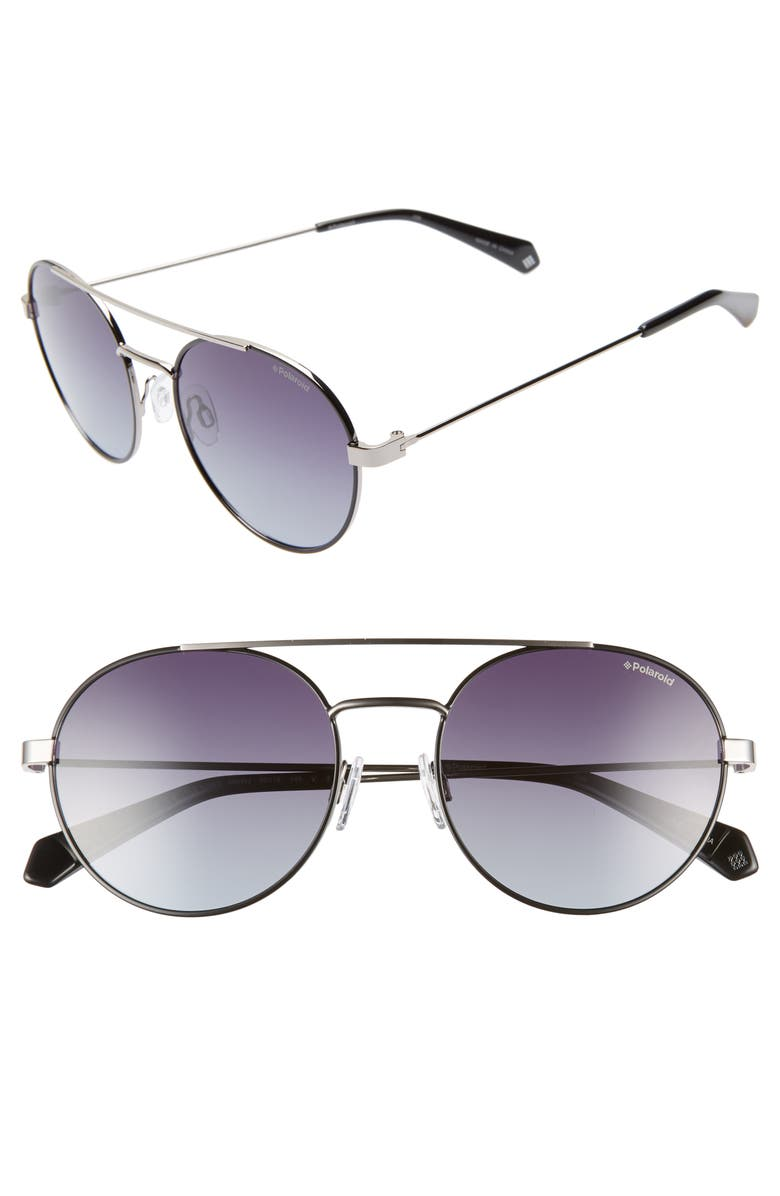 POLAROID Round 55mm Polarized Sunglasses, Main, color, 001
