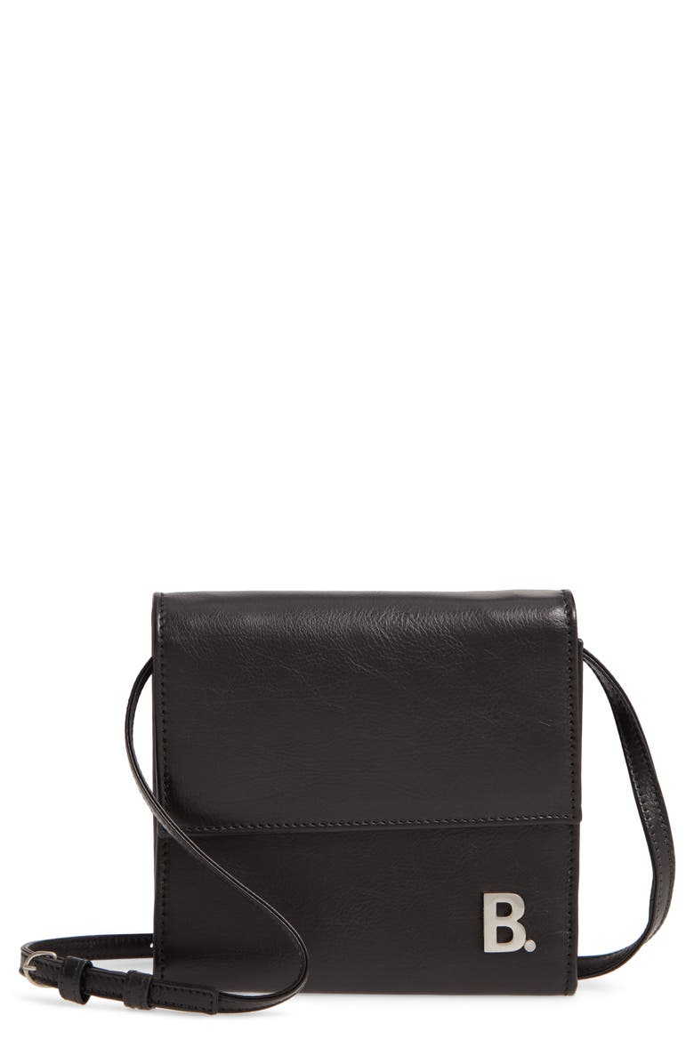 BALENCIAGA Leather Wallet on a Strap, Main, color, BLACK