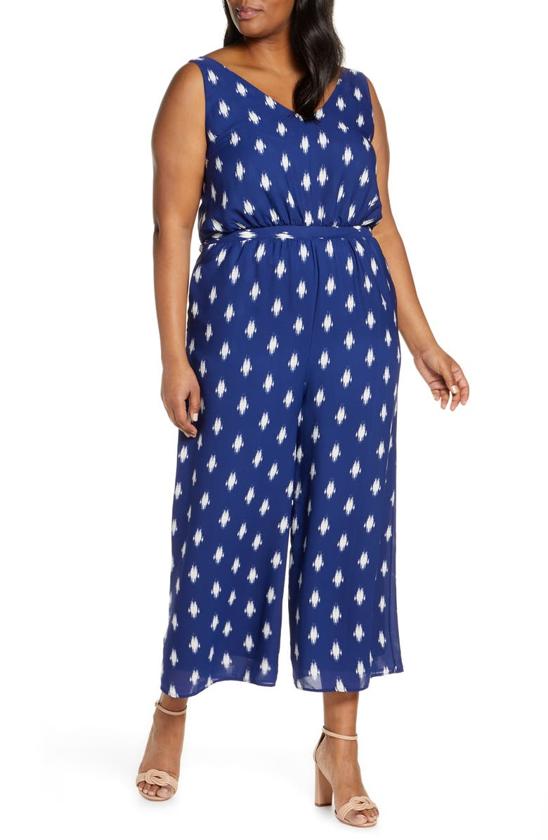 GIBSON x Living in Yellow Magnolia Wide Leg Jumpsuit, Main, color, IKAT NAVY