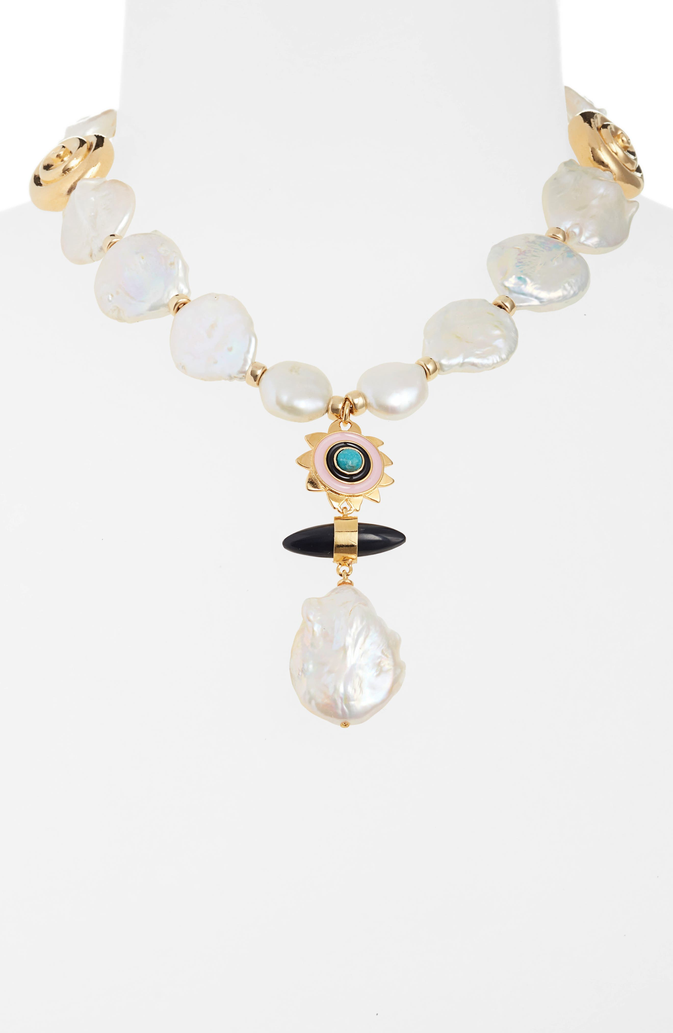 ,                             Pearl & Stone Pendant Necklace,                             Alternate thumbnail 2, color,                             100