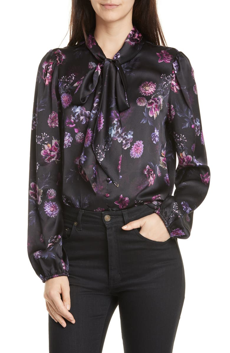CAMI NYC The Ellery Tie Neck Silk Charmeuse Blouse, Main, color, DARK AND STORMY