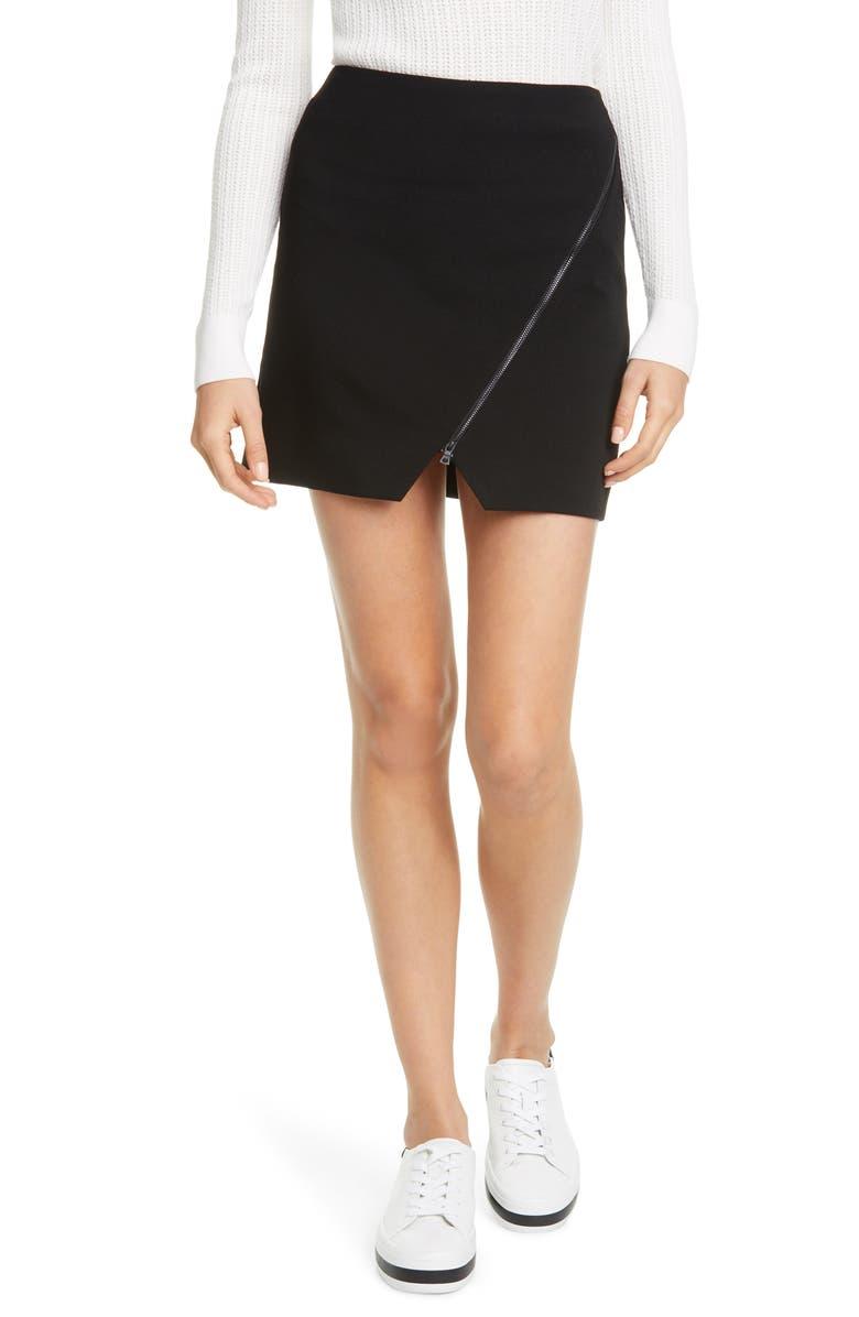 ALICE + OLIVIA Barbra Asymmetrical Zip Miniskirt, Main, color, BLACK