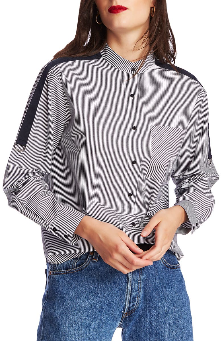 COURT & ROWE Pinstripe Button Front Shirt, Main, color, BLUE NIGHT
