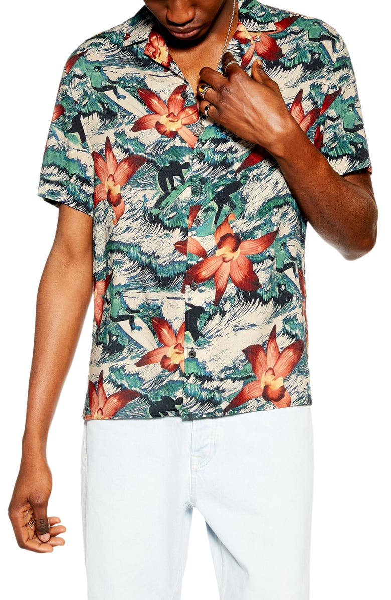 TOPMAN Surfer Orchid Print Short Sleeve Button-Up Camp Shirt, Main, color, BLUE MULTI