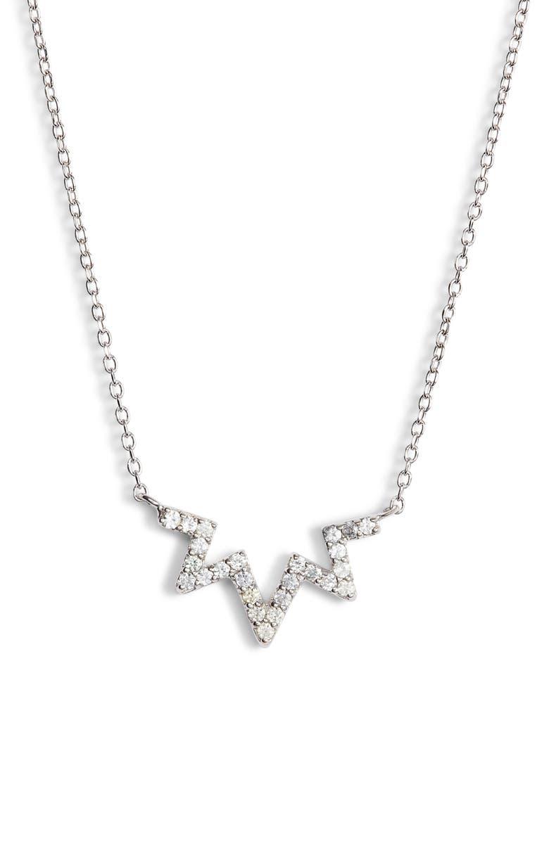 ANZIE Sapphire Zigzag Necklace, Main, color, SILVER/ WHITE SAPPHIRE