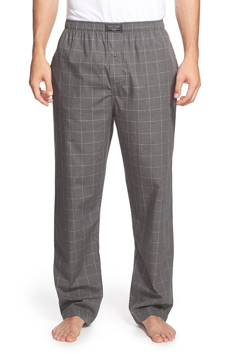 POLO RALPH LAUREN Cotton Pajama Pants, Main, color, CHARCOAL