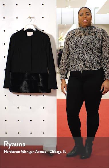 Wool Blend Jacket with Faux Fur Hem, sales video thumbnail
