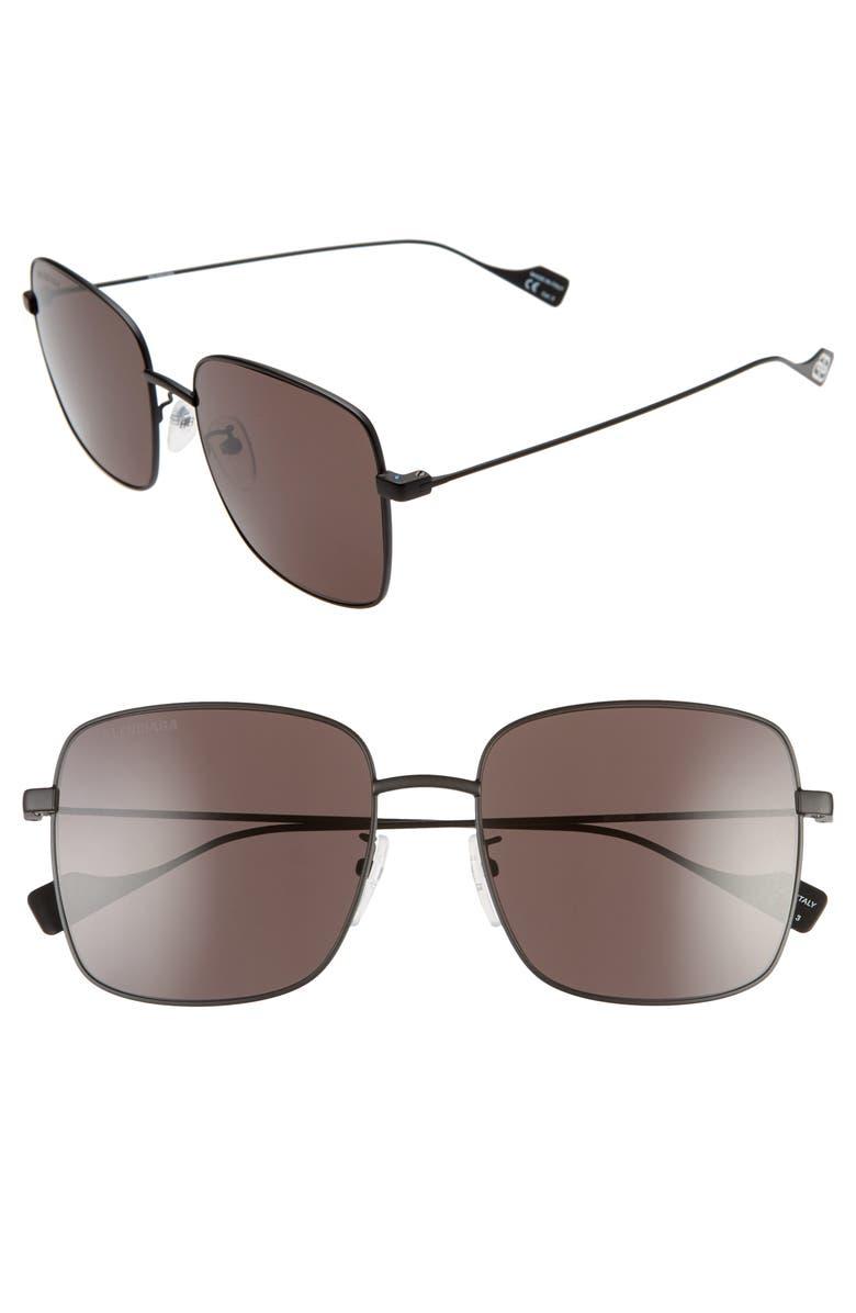 BALENCIAGA 57mm Square Sunglasses, Main, color, BLACK/ GREY