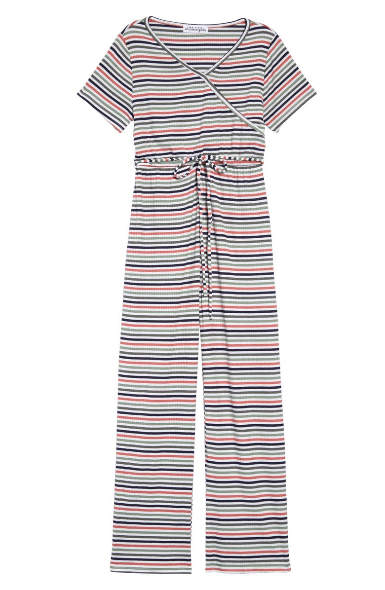 TEN SIXTY SHERMAN Stripe Surplice Jumpsuit, Main, color, OLIVE/RUST