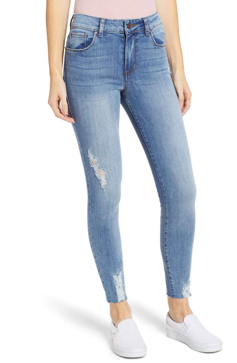 BP. Distressed High Waist Skinny Jeans, Main, color, 400