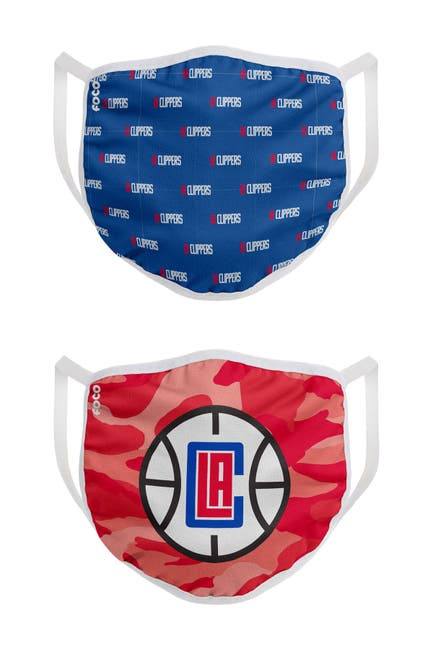 Image of FOCO NBA Los Angeles Clippers Clutch Printed Face Cover - Pack of 2