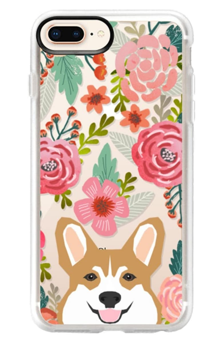 CASETIFY Corgi in the Flowers iPhone 6/6S/7/8 & 6/6S/7/8 Plus Case, Main, color, PINK / GREEN / TAN