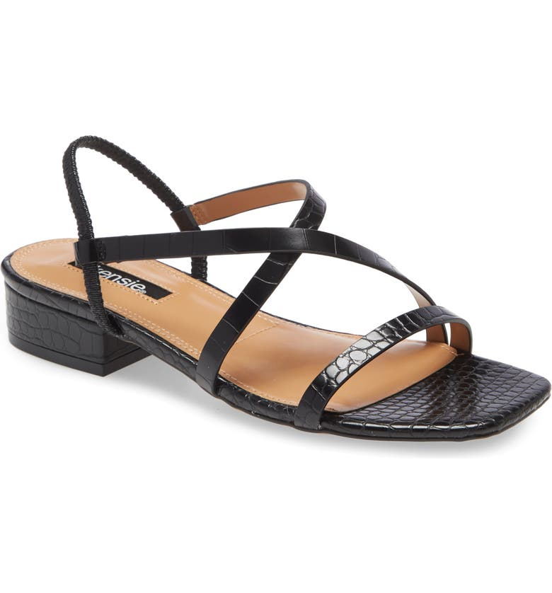 KENSIE Conley Sandal, Main, color, BLACK FAUX LEATHER