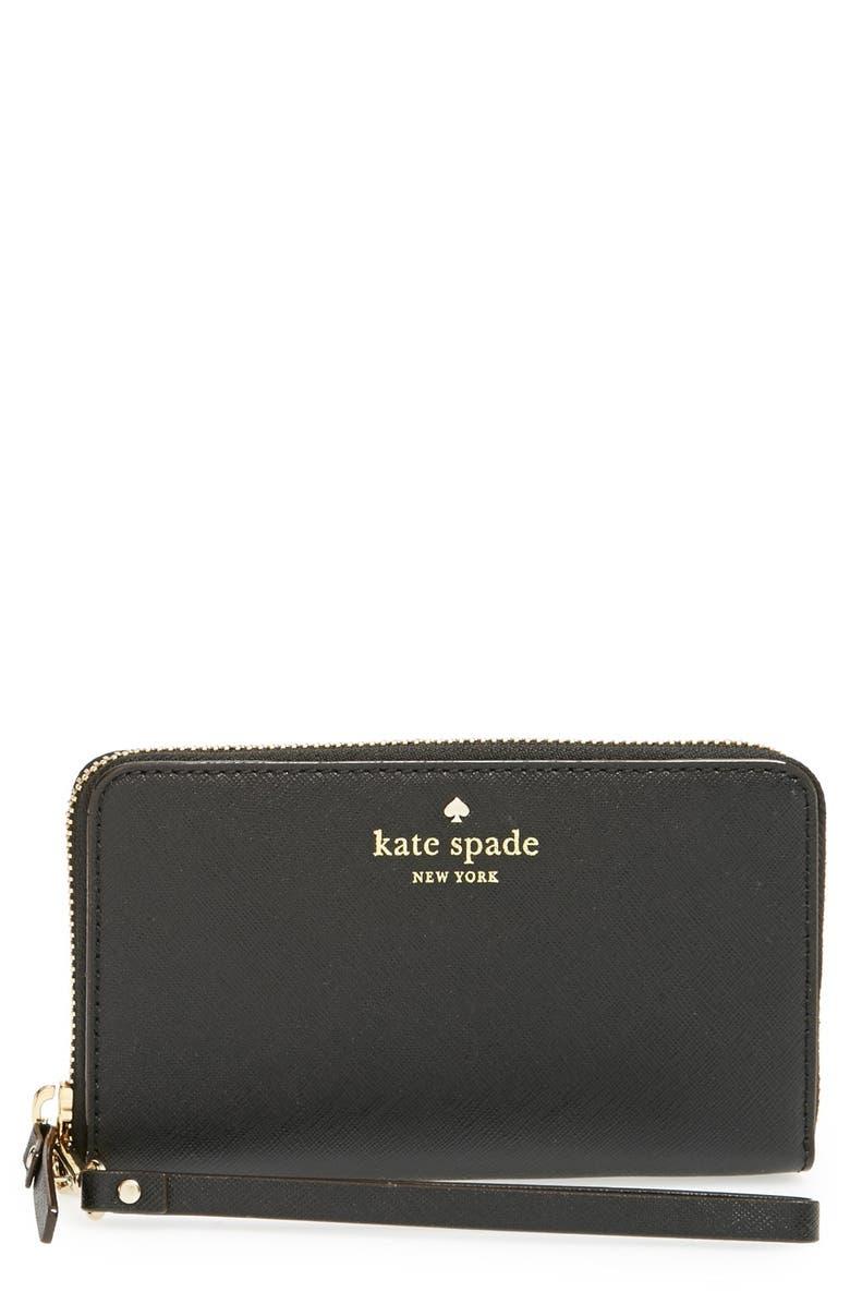 KATE SPADE NEW YORK 'cedar street - jordie' zip around leather wallet, Main, color, 001