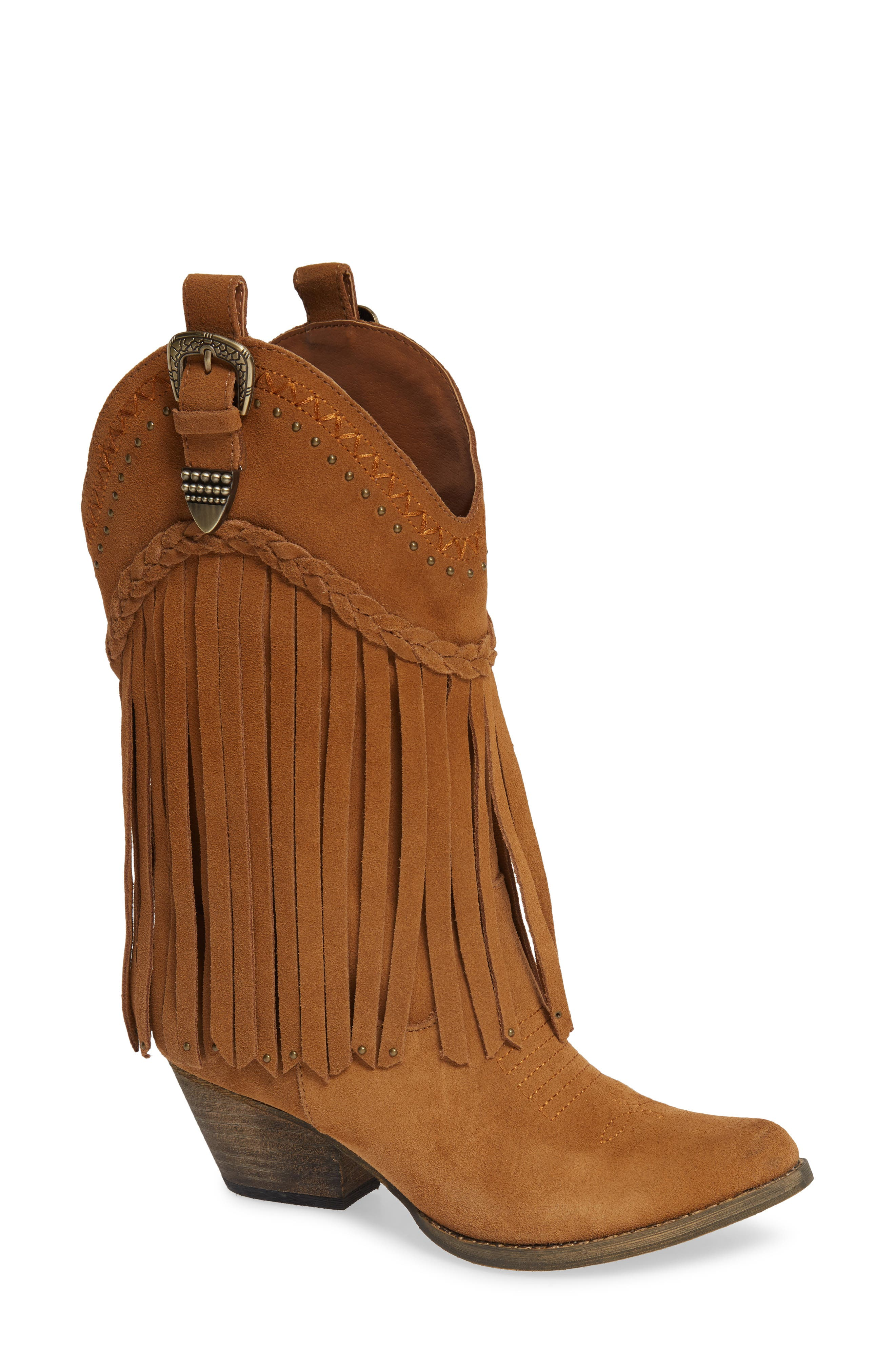Vintage Boots- Buy Winter Retro Boots Womens Very Volatile Anderson Fringe Western Boot Size 8 M - Brown $89.99 AT vintagedancer.com