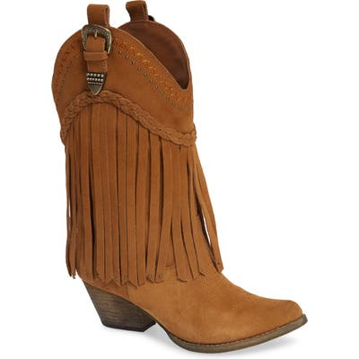 Very Volatile Anderson Fringe Western Boot, Brown