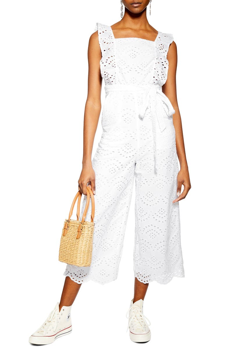 TOPSHOP Embroidered Ruffle Jumpsuit, Main, color, 900