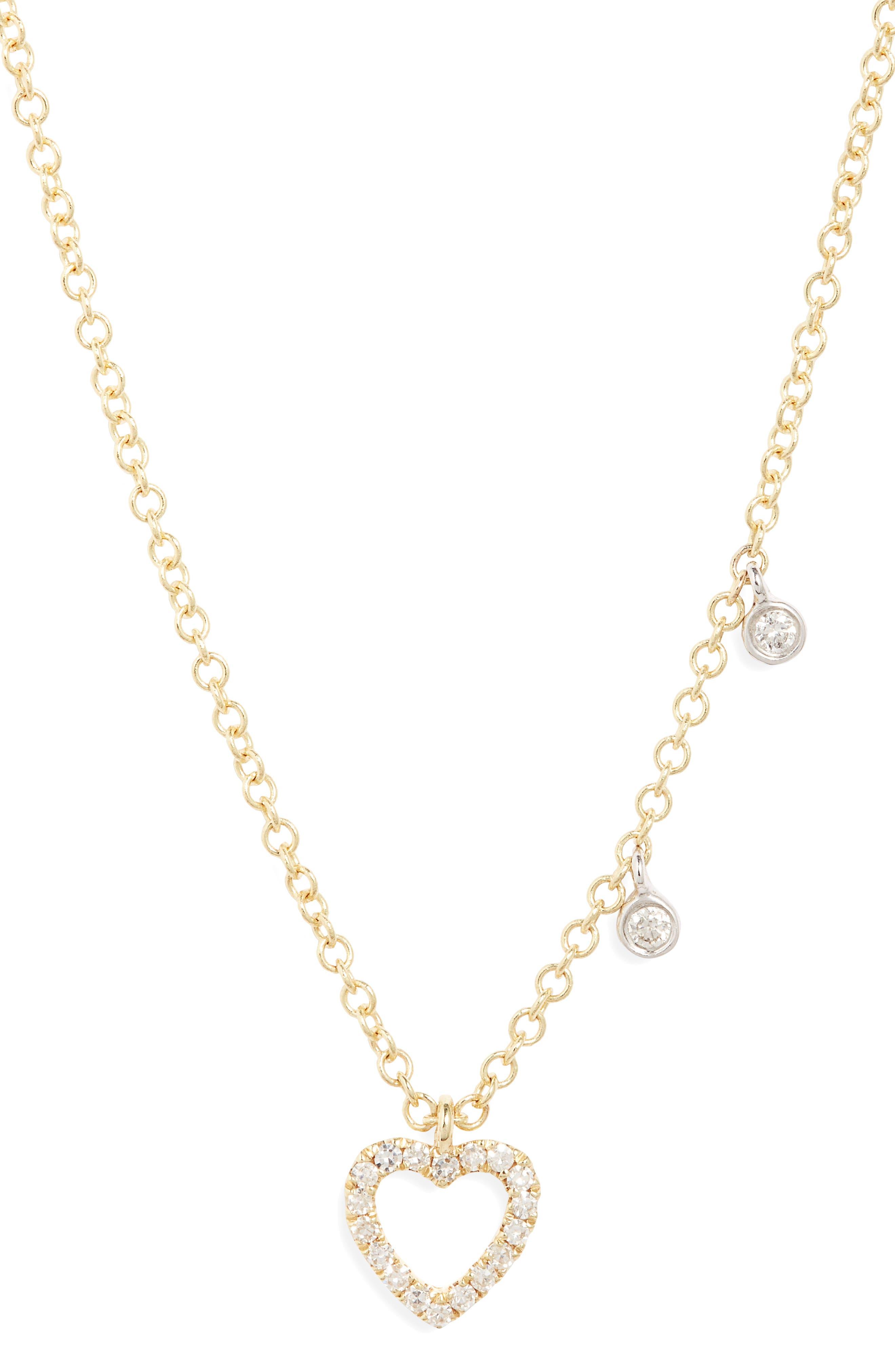 Women's Meira Pave Diamond Heart Pendant Necklace