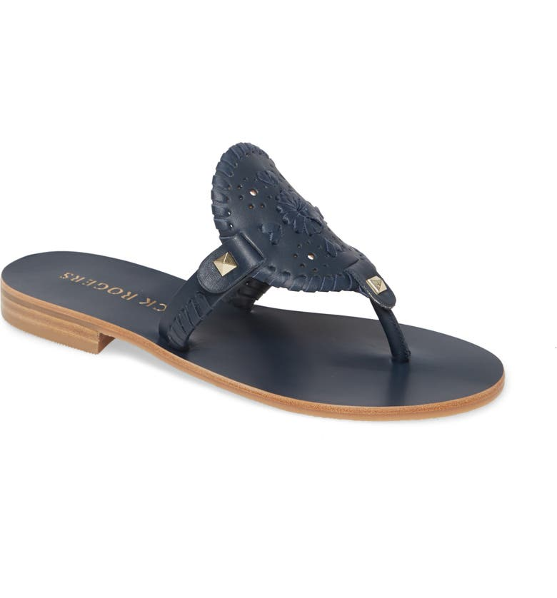 JACK ROGERS 'Georgica' Sandals, Main, color, MIDNIGHT LEATHER