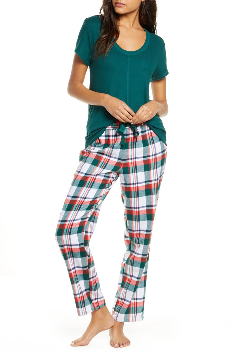 RACHEL PARCELL Knit & Plaid Fleece Pajamas, Main, color, GREEN BOTANICAL WINTER PLAID