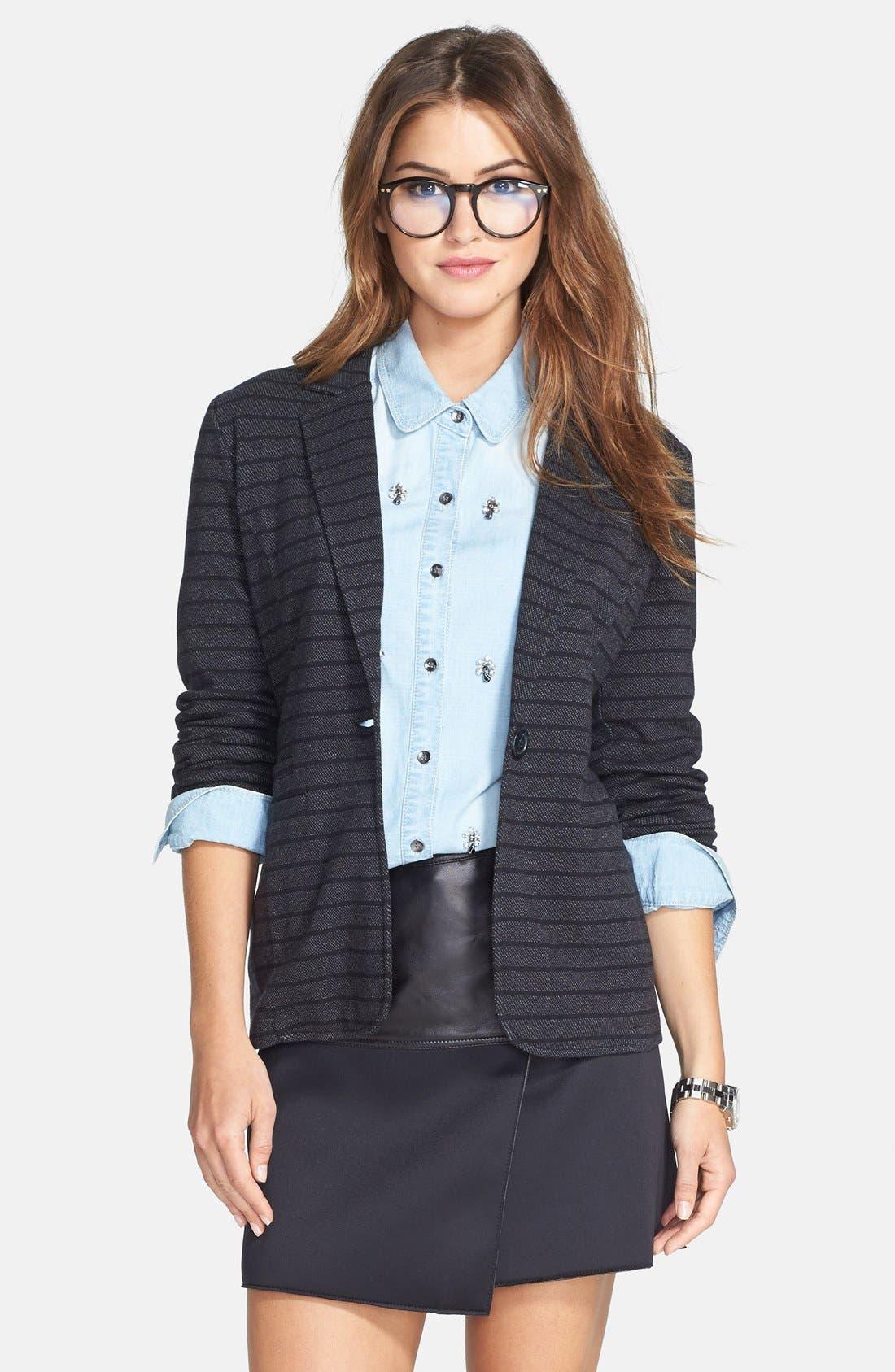 ,                             Roll Sleeve Knit Blazer,                             Main thumbnail 4, color,                             021