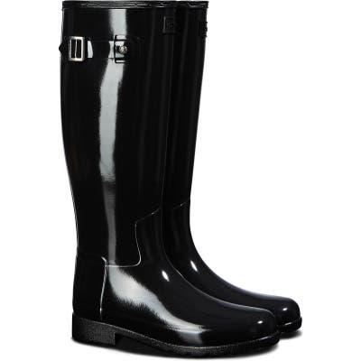 Hunter Original Refined Gloss Tall Waterproof Rain Boot, Black