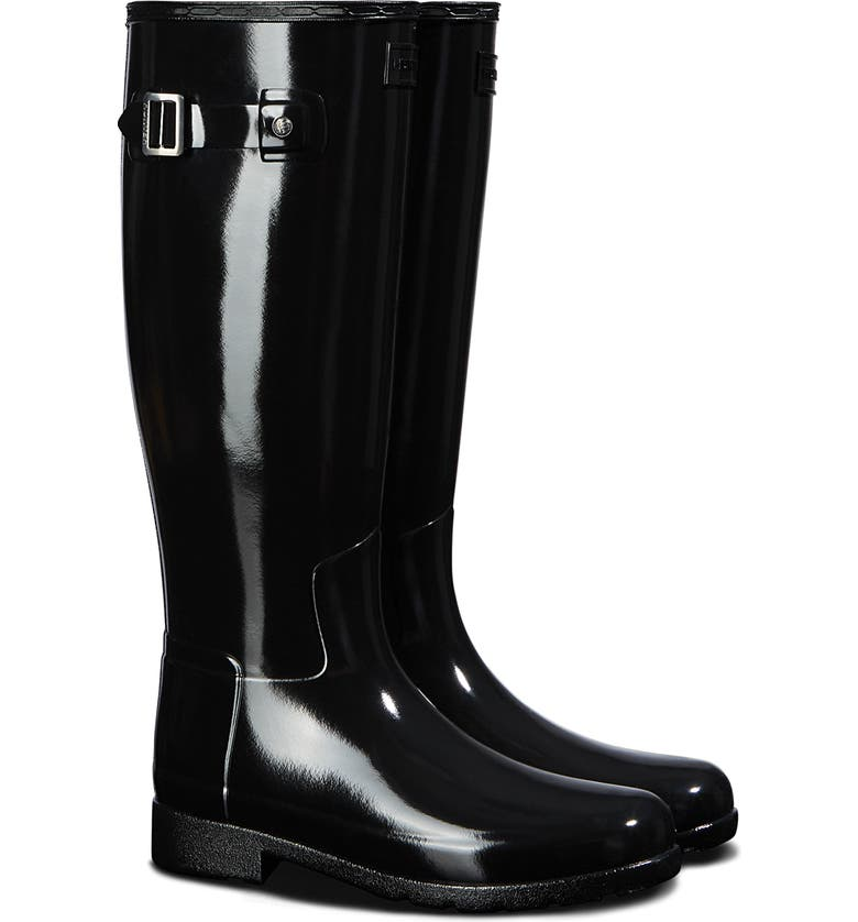 HUNTER Original Refined Gloss Tall Waterproof Rain Boot, Main, color, BLACK