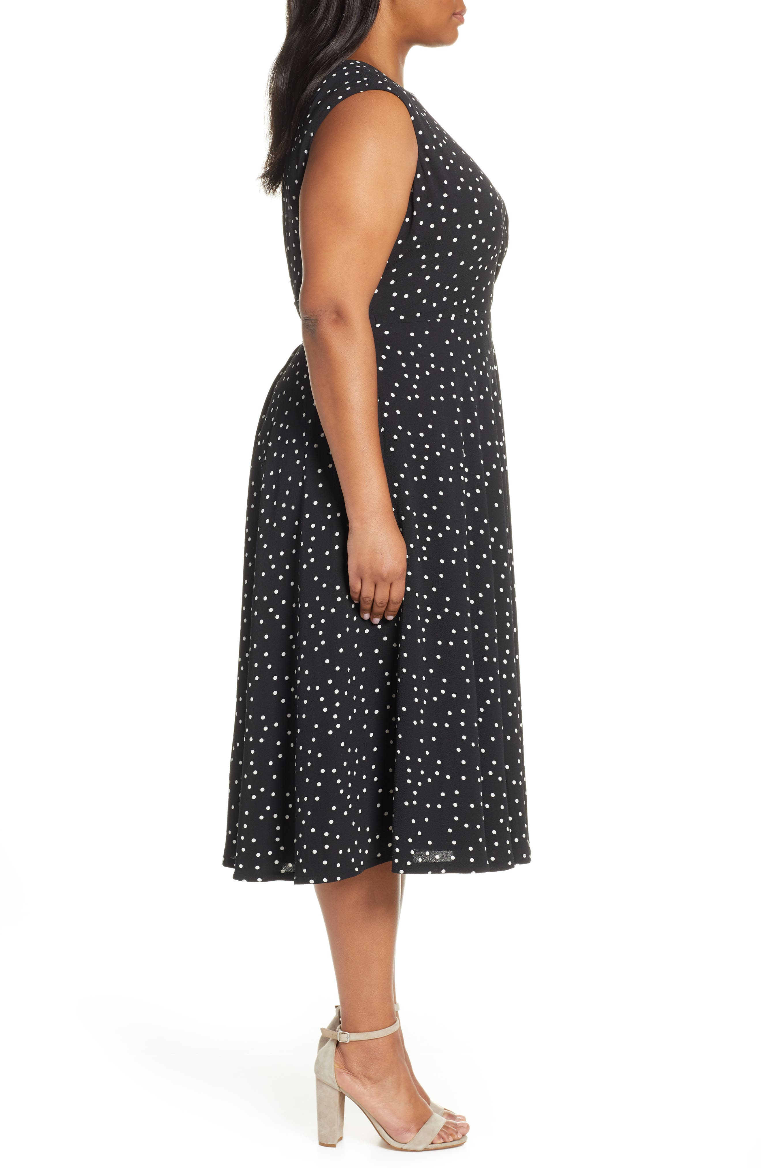 ,                             Polka Dot Fit & Flare Midi Dress,                             Alternate thumbnail 4, color,                             002