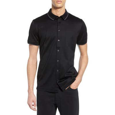 Boss Puno Slim Fit Knit Shirt, Black