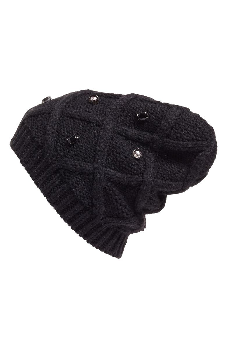 HALOGEN<SUP>®</SUP> Embellished Knit Beanie, Main, color, 001