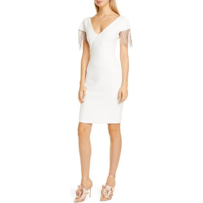 Badgley Mischka Chain Detail Crepe Cocktail Dress, Ivory
