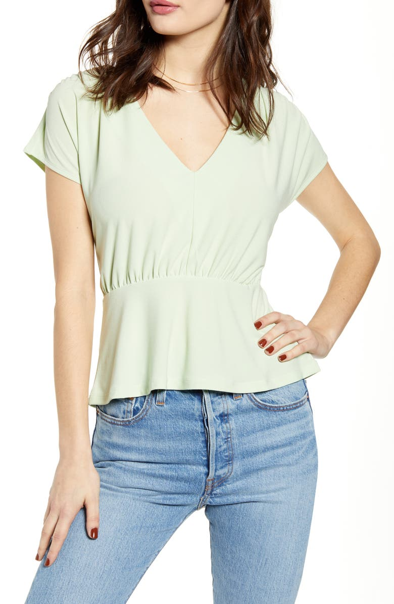 LEITH Peplum Top, Main, color, GREEN BOKCHOY