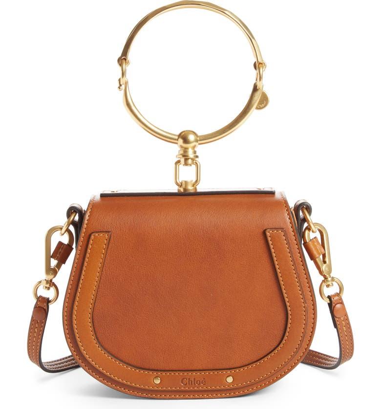 CHLOÉ Small Nile Bracelet Leather Crossbody Bag, Main, color, CARAMEL