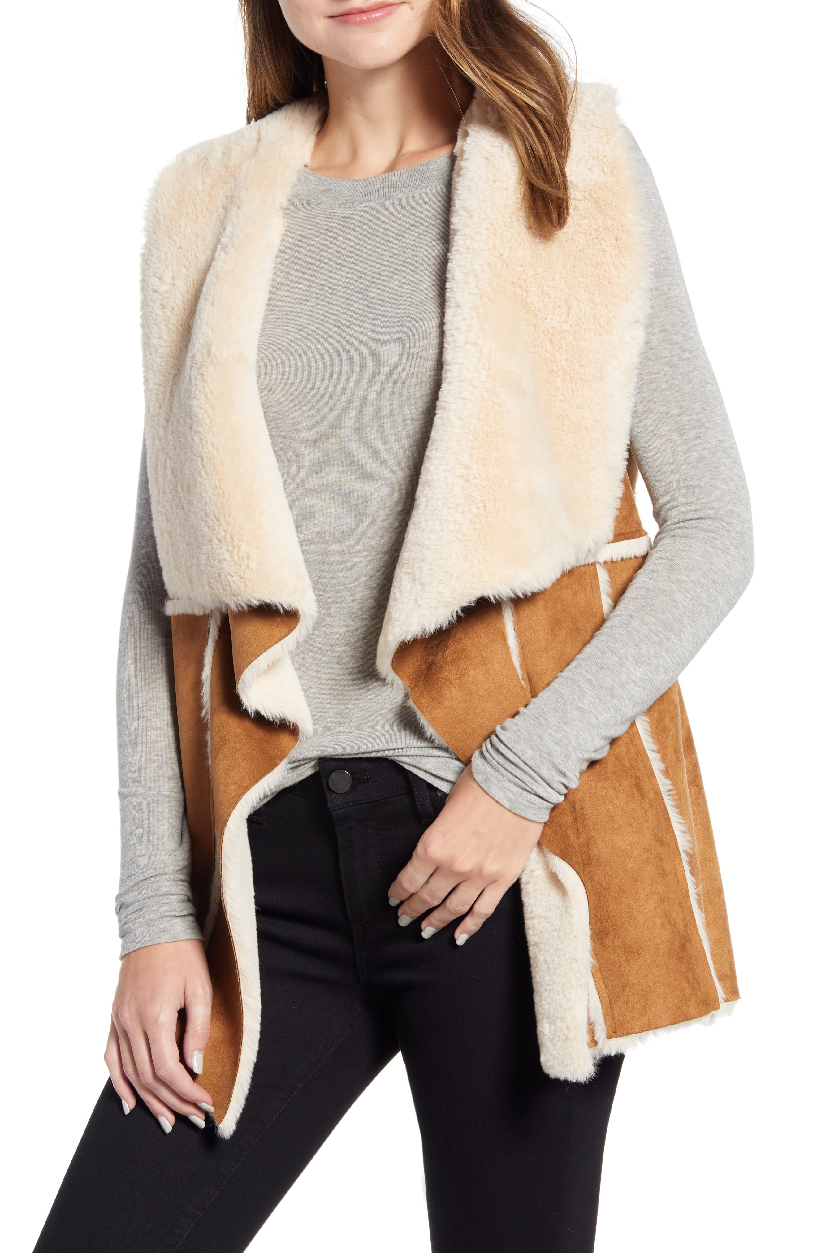 Image of cupcakes and cashmere Jo Faux Suede & Faux Shearling Vest